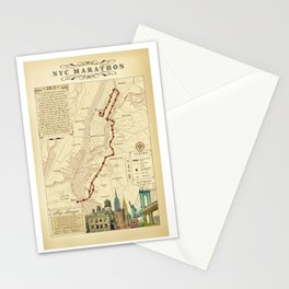 New York City Vintage {Marathon Course Map} 26.2 Stationery Cards