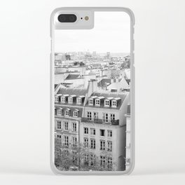 Paris in Black and White, Rooftops Clear iPhone Case