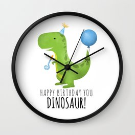 Happy Birthday You Dinosaur! Wall Clock
