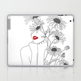 Minimal Line Art Girl with Sunflowers Laptop & iPad Skin