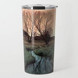 A stream, dry grass, reflections and trees II | waterscape photography Travel Mug