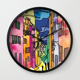 Winding Cobbled Streets Wall Clock