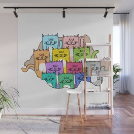 Meow-mania, the land of cats Wall Mural