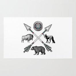 Crossed Arrows Compass Bison Fox Bear Rug