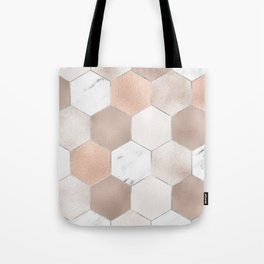 Rose pearl and marble hexagons Tote Bag