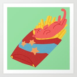 Fries Cat Art Print
