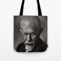 freud Tote Bags featuring Sigmund Freud by Jason Seiler