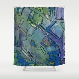 Imprinted Blue and Green Modern Abstract Shower Curtain
