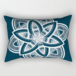Authentic white mandala on blue Rectangular Pillow