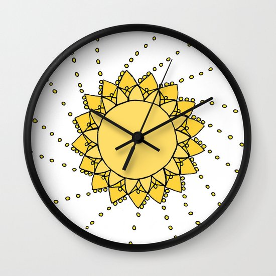 Celestial Swirling Sun Boho Mandala Hand-drawn Illustration on White Wall Clock