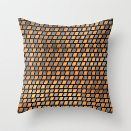 Irregular Chequers - Black Steel and Copper - Industrial Chess Board Pattern Throw Pillow