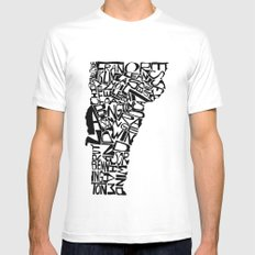 Typographic Vermont MEDIUM Mens Fitted Tee White