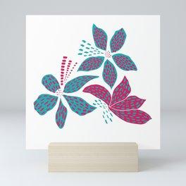 Pink and blue flowers Mini Art Print