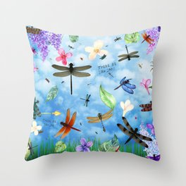 There Be Dragons Whimsical Dragonfly Art Throw Pillow