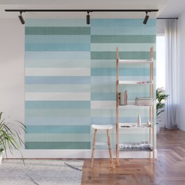 Color Block Stripe in Mint Blue Wall Mural