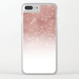 Girly Faux Rose Gold Sequin Glitter White Ombre Clear iPhone Case