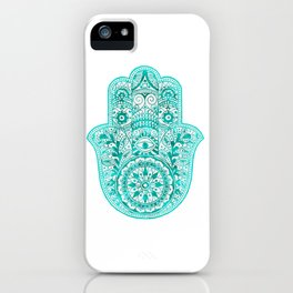 Turquoise Watercolor Hamsa Hand iPhone Case