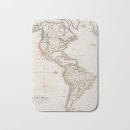 Vintage Map of North and South America (1843) Bath Mat