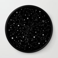 constellations Wall Clocks featuring Constellations by Rachel Buske