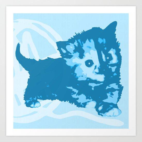 Here Kitty, Kitty - Pastel Blue Art Print