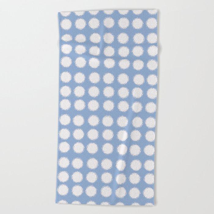milk glass polka dots in light blue Beach Towel