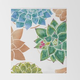 Watercolour Succulents and Copper, Watercolor Succulents and Copper Throw Blanket