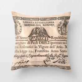 Assegnato da 10 paoli, emesso nell'anno 7. repubblicano (1798) Throw Pillow