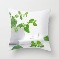 melissa smith Throw Pillows featuring Melissa officinalis by Tanja Riedel