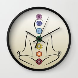 Chakras w gradient background Wall Clock
