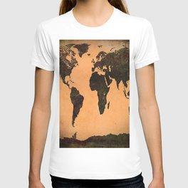 Grungy Abstract World Map T-shirt