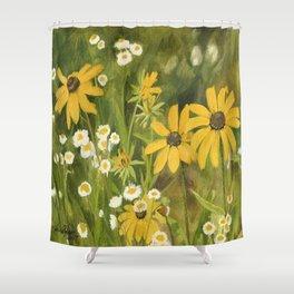 Watercolor Black Eyed Susan Wildflower Botanical Garden Flower Shower Curtain