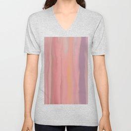 Modern pink coral lavender violet watercolor brushstrokes Unisex V-Neck