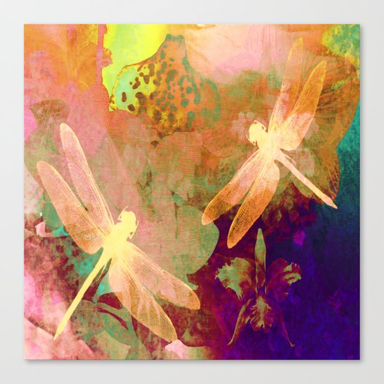 Dragonflies and Orchids QW Canvas Print
