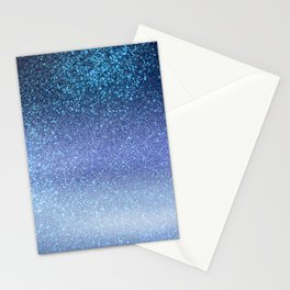 Navy Pastel Blue Triple Glitter Ombre Gradient Stationery Cards