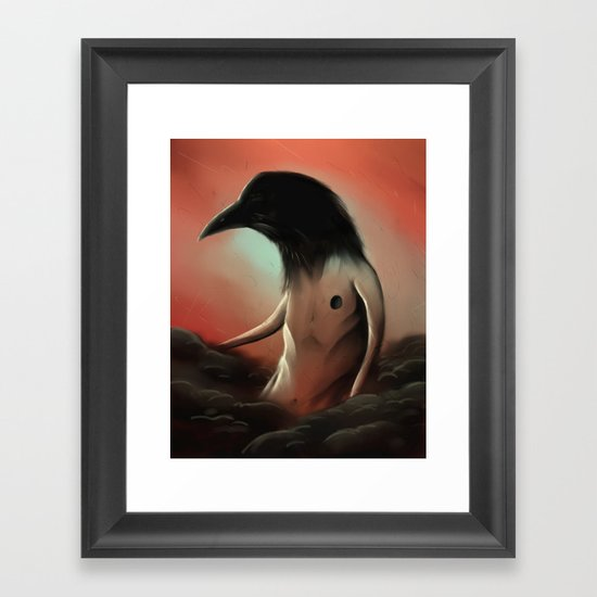 The crow in the cloud Framed Art Print