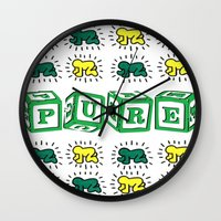 keith haring Wall Clocks featuring PURE (Keith Haring Tribute) by Kerosene Bill