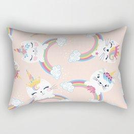 Cute unicorn cat seamless pattern for kids Rectangular Pillow