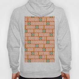 Geometrical abstract orange white turquoise stripes polka dots Hoody