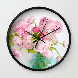 Dreamy Shabby Chic Ranunculus Peonies Roses Print - Spring Summer Garden Flowers Mason Jar Wall Clock