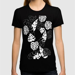 black and white tropical minimal leaves poster T-shirt