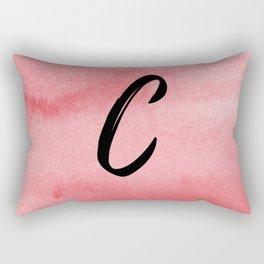 C - Red Watercolor Rectangular Pillow