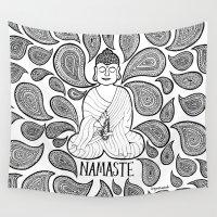 namaste Wall Tapestries featuring Namaste Buddha by fortyonehundred