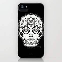 Día de Muertos Calavera • Mexican Sugar Skull – White on Black Palette iPhone Case