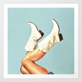 These Boots - Blue Art Print
