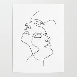 Double face one line Poster, Abstract art, abstract poster, modern art - Scandinavian art - Home Dec Poster