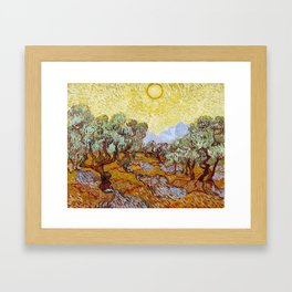 Van Gogh - Olive Trees with yellow sky and sun Framed Art Print