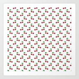 Natural Bright Red Cherries on White Pattern Art Print