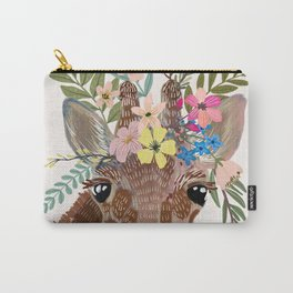 Giraffe with flowers on head Carry-All Pouch