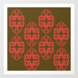 Luxury vint. Monograms red choco Art Print