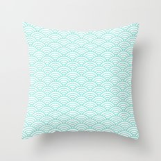 Blue Tiffany Mermaid Scales Throw Pillow